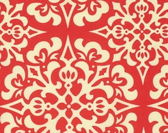 Heather Bailey Fabric by the Yard -  Snowflake in Red - Ginger Snap Fabric - Quilter's Cotton