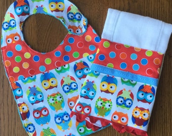 Primary Color - Owl Minky Baby/Toddler Bib OR Bib and Burpcloth Set