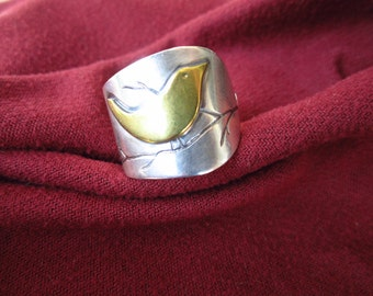 Sterling Silver Chick-a dee Bird Ring