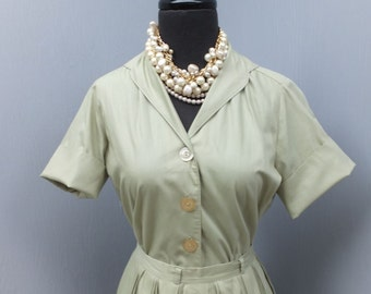 1950s 2pc Pleated Skirt and Blouse  Dacron and Cotton / Adelaar / 50s Pin Up Blouse and Full Skirt size 10