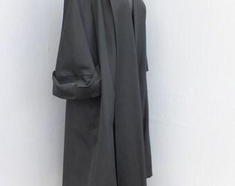 Vintage 50s Swing Coat, Black Full Length Glamorous Swing Coat, Mad Men, Elegant Opera or Dinner Coat, Bracelet or Elbow Sleeve Coat