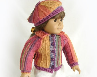 Doll Sweater and Hat Multicolor Doll Sweater American Girl Doll Knit Ensemble 18 inch Doll Multi color Sweater and Hat Am Girl Doll Sweater