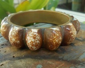 Cowry Shells Brass Bangle Bracelet Mid Century Modern Beach Nautical Style Boho Chic