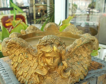 Wood Carved Angel Gold Plant / Bowl / Center Piece Stand  Boho Chic Home Decor