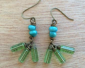 E491 Blue and Green Earrings