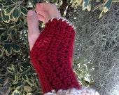Handmade Crochet Fingerless Gloves Rustic Red and Bone