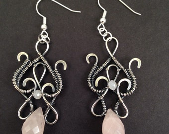 Silver wire wrap earrings with rose quartz