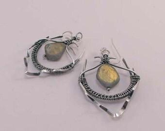 Fine silver and Labradorite earrings