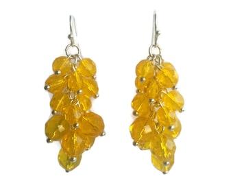 Lemon Jelly - Yellow Earrings - Czech Bead Cluster Dangle Earrings - Mishimon Designs