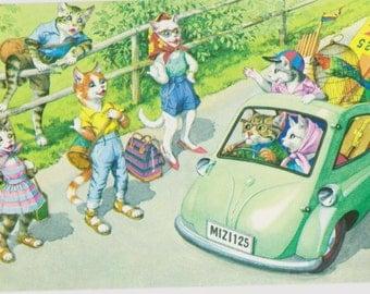 Mainzer cat postcard -  Hitchhikers  Mainzer dressed cats Postcard  #4729 vintage postcard, SharonFosterVintage