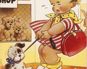 "Bamforth Taylor Tot vintage postcard, ""Darn good job I didn't buy an Alsatian"" Bamforth children comic Taylor Tots Series PC # K237"