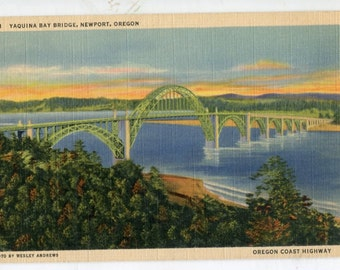 Vintage postcard from the 1950's of Yaquina Bay Bridge in Newport, Oregon from the Oregon Coast Highway