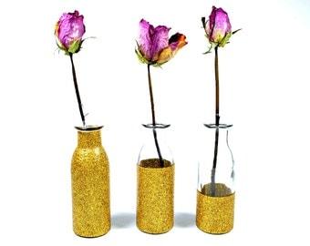 Glass Milk Bottle - Gold Glitter Bottle - Gold Vase - Gold Bottle  - Wedding Decor - Flower Vases - Centerpiece - Set of 3 Gold Vases