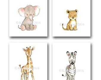 Jungle Nursery Art -- Safari Friends SET OF 4, Elephant Wall Art, Lion Wall Art, Giraffe Wall Art, Children's Wall Art, Jungle Art Print