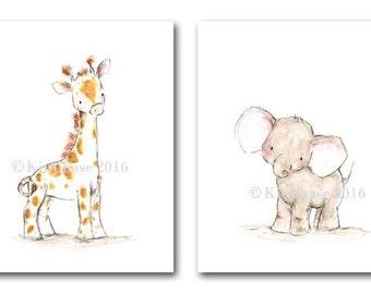 "Nursery Wall Art -- ""Ollie and Jolly"" SET OF 2 -- Giraffe Wall Art, Elephant Wall Art, Children's Wall Art, Nursery Art Print"