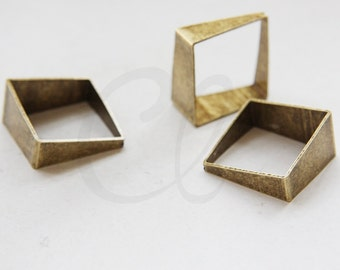 One Piece Antique  Brass Earring Component - Square - 25mm (1870C-M-372)
