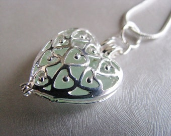 Seafoam Sea Glass Heart Locket - Heart Locket Necklace - Heart Pendant