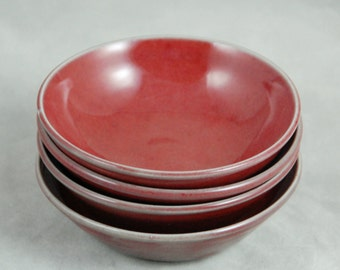 Bowls Set of Four Small Bowls for Food Prep Sauces Dips Desserts or Snacks in Red