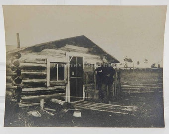 Man Standing in Front of His Log Cabin - Antique Photograph - American West - 13544
