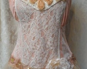 MidWinter Sale 20% Off TUNIC Top Tank Cami Whimsey Boho Romantic - Vintage Cami Make Over - Shades of Peach and Ivory