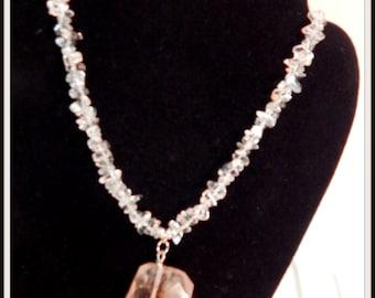 Necklace: Lava Quartz Focal with Medium chip Crystal quartz beads.