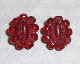 1950s Vintage Cranberry Beaded Cluster Earrings Clip On Style W. Germany