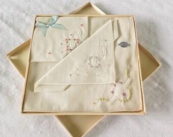 1930s Vintage Embroidered Swiss Linen Hankies in Original Box