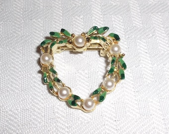 Vintage Heart Brooch with Hand Painted Leaves and Faux Pearls