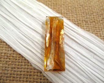 Czech 30x10mm Gold / Silver Foiled HC Faceted Glass Baguette Pendant