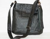 large upcycled black leather messenger bag, purse, crossbody, adjustable, strap, sling, shoulder bag, tassel, handmade, stacylynnc