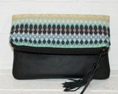 recycled black leather fold over clutch, navajo, makeup, tassel, handmade, stacylynnc, zip bag, purse, phone wallet, travel bag, upcycled