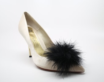 Detachable Feather Puff Pom Pom Shoe Clips  Set of Two Black