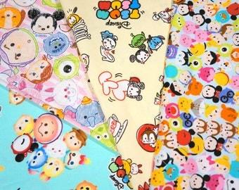 Disney Licensed Disney Tsum Tsum fabric scrap 25 by 25 cm or 9.6 by 9.6 inches each piece Printed in Japan ©Disney ©Disney/Pixar