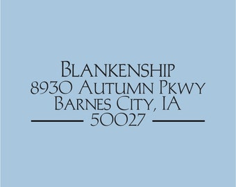 Custom Return Address Stamp Self Inking Blankenship Design 100-012