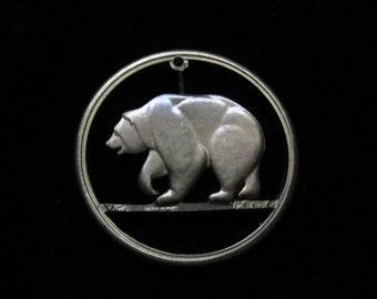 1969 - California Bicentennial Medallion - Cut Coin Jewelry -  Grizzly Bear
