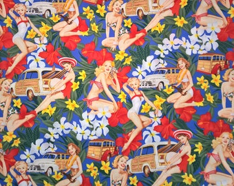 Three (3) Yards - Pin Up Retro Mahalo Girls in Blue by Alexander Henry 7754B Royal