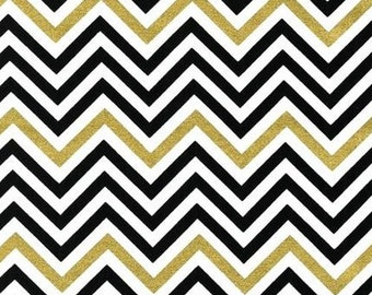 One (1) Yard - Remix Chevron Print Metallic by Robert Kaufman Fabrics AAKM-10394-189 EBONY
