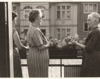 Original Vintage Photograph Older Women On Balcony By Flower Boxes 1950s-60s