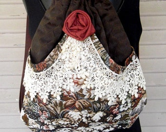 Backpack Victorian Lace, Tapestry and Rose  Mori Girl  Brown Backpack   Pocket  Handmade Rose  Black Velvet Victorian