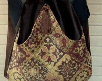 Brown Velvet Backpack Woven Wool Medallions  Renaissance Book Bag Brown Velvet Drawstring Backpack