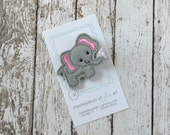 Grey and Hot Pink Elephant Felt Hair Clip - Cute Animal Felt Clippies - Felt Hair Bows - Hairbows with Non Slip grip for girls - zoo trip