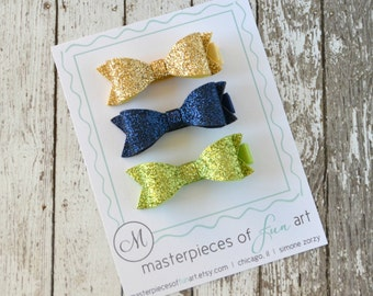LIMITED EDITION - Set of 3 Glitter Felt Hair Bows - gold, navy blue, apple green - felt bow hair clips - glitter felt bow hair clip set