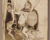 Antique  DAUMIER Lithograph ORIGINAL CIRCA 1854 Actualites  French 12 x 10