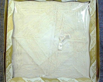 VINTAGE WEDDING  GIFT Set Two Hankies Embroidered Lace 9X9 in Mint In Box