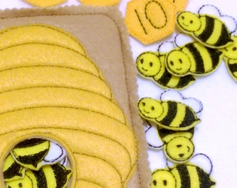 Bee hive counting Quiet activity page educational game busy bags quiet book #QB47
