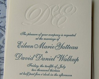 Letterpress Wedding Invitation Sample, Wedding Invitation, Monogram Wedding Invitation, Classic Wedding Invitations, Wedding Invitation