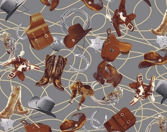 Sundown Western Print Fabric ~ Saddles and Tack on Gray ~ Penny Rose Fabrics ~ Woven Cotton by the Yard