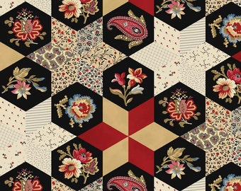 SALE! Victoria by Emily Hayes ~ Main Print Red ~ Victorian Era Reproduction Fabric ~ One Yard