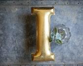 Vintage Store Signage   Aluminum Lettering   Gold  I   Industrial Sign   Bedroom Decor    Mud Room Wall Art   Initial Monogram