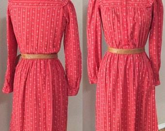 Red Prairie Dress. boho Calico Lanz Dress, Hipster Secretary,